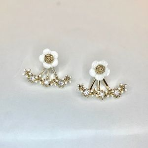 Gold Tone CZ white flower Ear jacket Studs